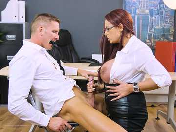 Emma Butt dominates her employees in office just like business woman should