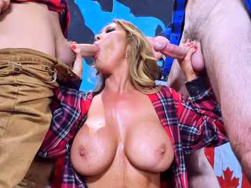 Asian porn star Kianna Dior services throat fucking & blowjob to guys on TV