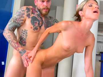 Slender Russian blonde Gina Gerson gets her shaved beaver pricked by tattooed lecher