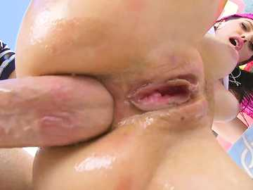 Initial anal fucking for oiled bum of Savannah Fyre turns into ass to mouth