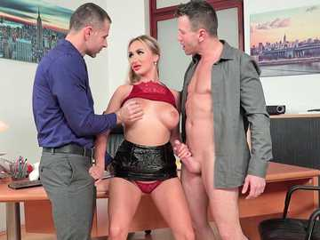 Girl in scarlet underwear Lara Onyx gets fucked by two studs in the office room