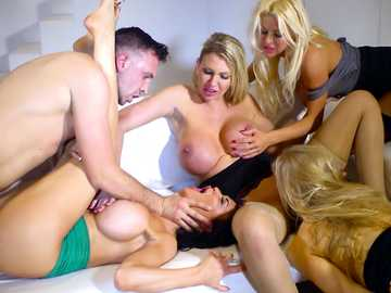 Group sex had moved to the couch so that Jasmine Jae, Leigh Darby, Rebecca Moore and Tia Layne can have that cumshot