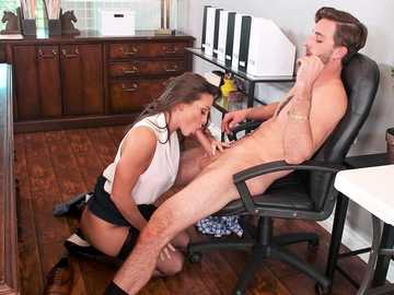Business woman Abigail Mac gets convincing pussy licking from new employee